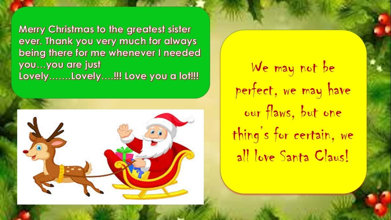 Merry Christmas Greetings for Sister